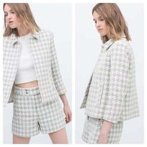 Zara houndstooth high waist shorts and blazer set